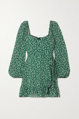 Reformation + Net Sustain Cammi Wrap-effect Ruffled Floral-print Georgette Mini Dress - Dark green
