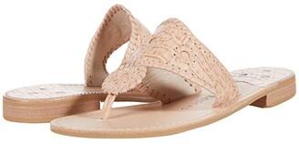 Jack Rogers Jacks Croc Embossed Flat Sandals (Burgundy) Women's Shoes