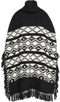 Maje Fringe-Trimmed Intarsia-Knit Turtleneck Poncho