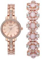 Folio Women's Rose Gold Tone Watch & Pink Glitz Bracelet Set