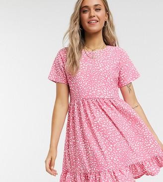 Wednesday's Girl short sleeve smock dress in animal print