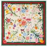 Gucci Flora Web print wool silk shawl