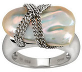 """Honora Cultured Pearl 13.0mm Baroque """"X"""" Design Sterling Ring"""