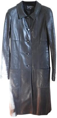 Chanel Black Leather Coat for Women Vintage