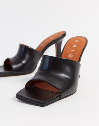 CHIO heeled leather mules with square toe in black leather