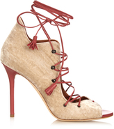 Malone Souliers Savannah lace-up velvet sandals