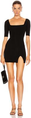 ZEYNEP ARCAY Square Neck Mini Knit Dress in Black | FWRD