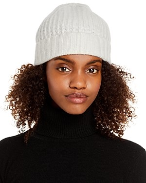 C by Bloomingdale's Ribbed Knit Cuff Cashmere Hat - 100% Exclusive