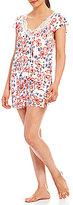 Oscar de la Renta Lace-Trimmed Floral Flutter-Sleeve Pajamas