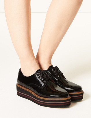 Marks and Spencer Leather Patent Flatform Shoes