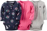 Carter's 3 Pack Print Bodysuits (Baby) - Gray/Pink/Blue-18 Months
