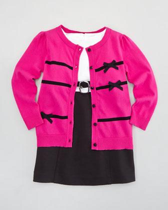 Milly Minis Ribbon Bow Cardigan, Pink, Sizes 8-10