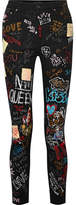 Dolce & Gabbana Queen Printed High-rise Skinny Jeans - Black