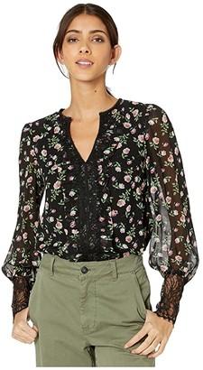 Nanette Lepore Rose Petal Blouse (Black Multi) Women's Clothing