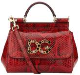 Dolce & Gabbana Mini Sicily Embellished Python Shoulder Bag