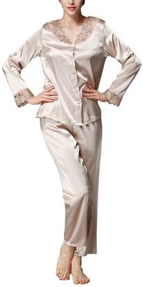 Dolamen Women Pyjamas Set Ladies Soft Silky Stain Pyjamas Nightwear Round Neck Lace Flower Embroidery Long Sleeve Top & Bottoms Size 10 Size 12 Size 14 etc. (Medium
