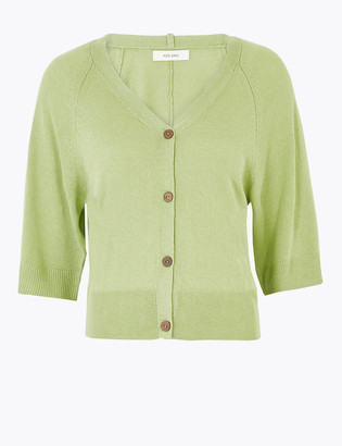 Marks and Spencer Ribbed Button Front Cropped Cardigan