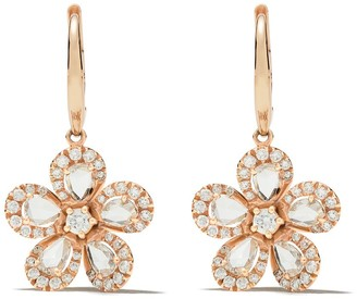 David Morris 18kt rose gold diamond Miss Daisy Single Flower drop earrings