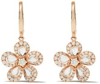 David Morris 18kt rose gold diamond Miss Daisy Single Flower drop earrings