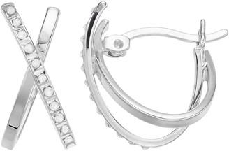 Mystique Diamond Sterling Silver Diamond Accent X-Hoop Earrings