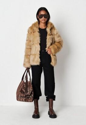 Missguided Premium Beige Pelted Faux Fur Hooded Coat