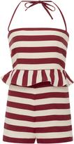 RED Valentino Striped Ruffle Romper