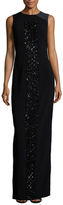 Theia Embellished Front Column Gown