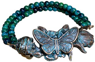 Elaine Coyne Galleries Handmade Patina Butterfly Rockband - Chrysocolla Beads