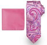 Big & Tall Steve Harvey Extra-Long Paisley Tie & Solid Pocket Square
