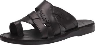 Jerusalem Sandals Aron - Leather Lightweight Sandal - Mens Sandals Black