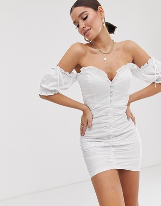Public Desire X Lissy Roddy milkmaid mini dress with ruching and puff sleeves