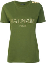 Balmain logo print T-shirt - women - Cotton - 36