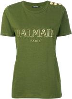 Balmain logo print T-shirt - women - Cotton - 38