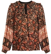 Masscob Floral-print ruffle-trimmed top