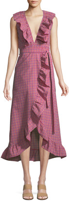 MISA Stella Gingham-Print Draped Ruffle Midi Dress