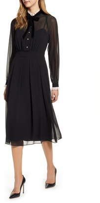 Anne Klein Lace Ruffle Long Sleeve Midi Dress