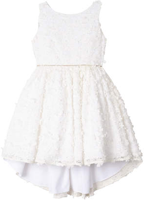 Badgley Mischka Kid's Flower Lace High-Low Dress, Size 4-6X