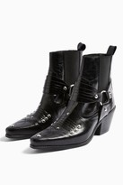 Topshop MEXICO Black Western Leather Boots