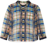 Marni Checked Cotton-organza Shirt - Blue