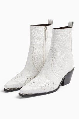 Topshop Womens Malta White Leather Western Boots - White