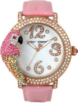 Betsey Johnson Women's Pink Pearlized Leather Strap Watch 44mm BJ00571-02