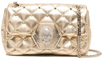 Philipp Plein Skull Diamond Quilted Leather Shoulder Bag