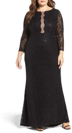 Marina Plus Size Women's Sequin Lace A-Line Gown