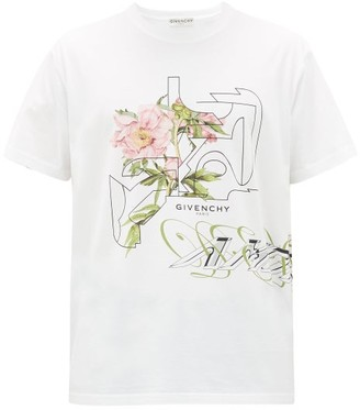Givenchy Floral-print Cotton-jersey T-shirt - Mens - White