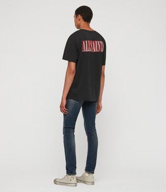 AllSaints Cigarette Damaged Skinny Jeans, Indigo