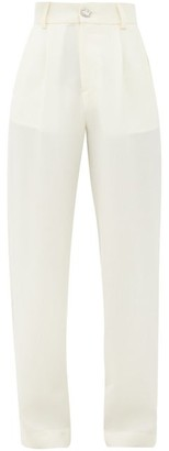 Edward Crutchley Crystal-button Wool Straight-leg Trousers - Ivory