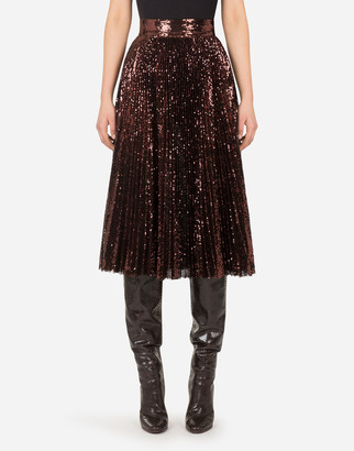 Dolce & Gabbana Midi Plisse Skirt With Sequins