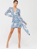 In The Style X Billie FaiersExtreme Drape Wrap Mini Dress - TealPrint