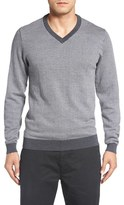 Bobby Jones Men's Herringbone Merino Wool V-Neck Sweater