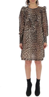 Ganni Leopard Printed Flared Maxi Skirt